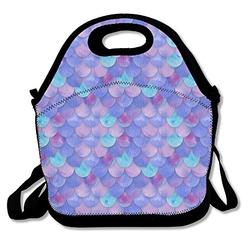 BesHomes Perfect Gifts - Neoprene Purple Mermaid Scales Lunch Bag/Lunch Box/Lunch Tote/Picnic Bags Insulated Cooler Travel ()