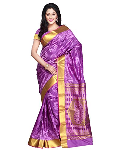 Janasya Women's Purple Kanchipuram Pallu Saree