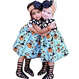 Toddler Little Girls Halloween Dress, Pumpkin Cartoon Princess Dress Outfits Clothes (5T/5Years, Blue)