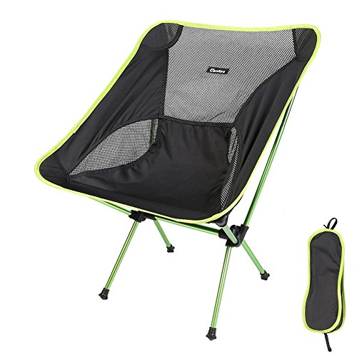 Candora™ Portable Ultralight Folding Chair, with Carry Bag Heavy Duty 330lbs Capacity Foldable Seat for Picnic Hiking Fishing Camping Garden BBQ Beach Patio Outdoor & Indoor Activities (Green) Teak Natural Rocker