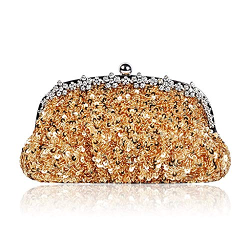 Borsa borsa con rosso spalla mano piena Borsa colore diamanti perla retrò paillettes a di oro a spalla da aHEW1Wgz