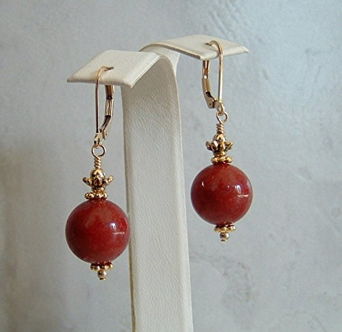 (Beautiful Deep Red Round Dolomite Stone Gold Filled Leverback Earrings Her Special Day Gift Idea)