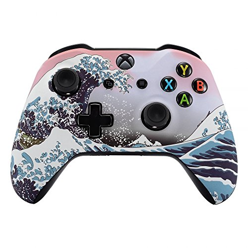 eXtremeRate The Great Wave Patterned Faceplate Front Housing Shell with Soft Touch Grip for Microsoft Xbox One X & One S Controller (Xbox Faceplate)