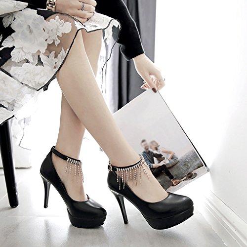 Peu Forme PU Talon escarpins Noir Imperméable Hauts Talons Femelle Printemps de Loisir Mince Femme Profonde Plate Chaussures Bouche EUwYYgPBq