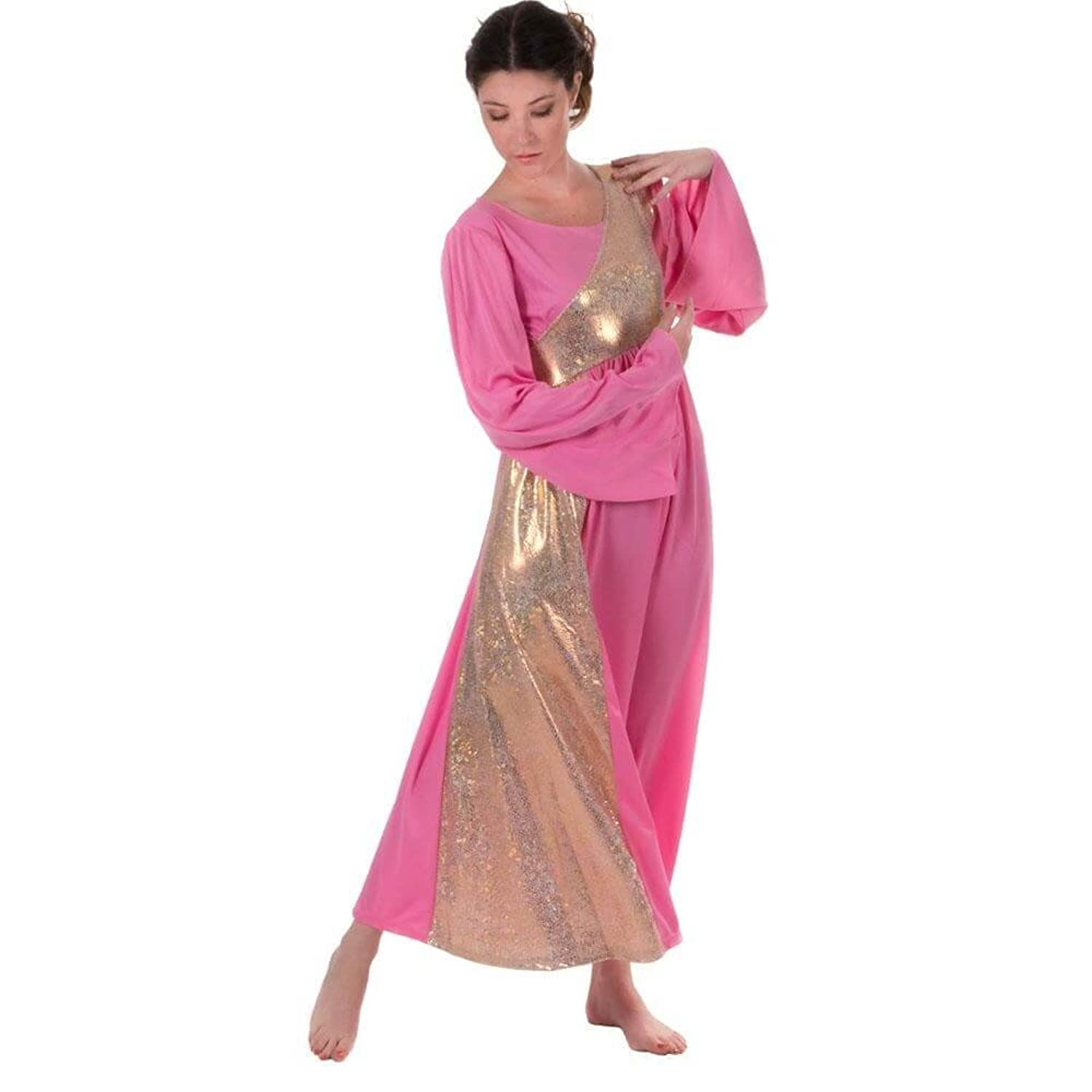 Danzcue Womens Shimmery Asymmetrical Bell Sleeve Dance Dress