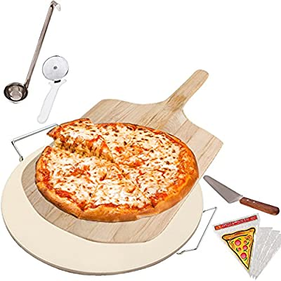 Kitchen Gems Home Pizza Baking Supplies Set - Includes Pizza Stone and Pizza Slicer with Other Essential Pizza Baking Utensils
