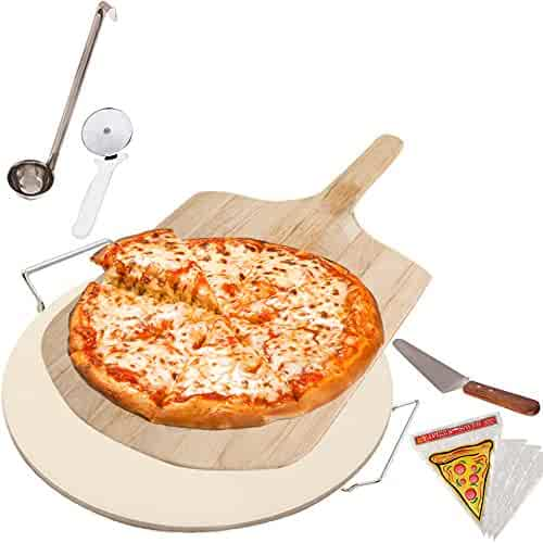 Pizza Stone Supplies Set for Cooking Baking Grilling - Includes Round Pizza Stone with Rack, Wooden Pizza Peel, Pizza Slicer, Pizza Server and Sauce Ladle