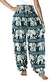 NaLuck Harem Pants Women's Hippie Bohemian Boho Smocked Waist Elephant floral prints Aladdin Yoga Casual Pants PJ16-Turquoise#2
