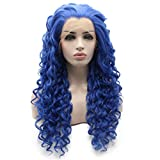Iewig Long Curly Blue Synthetic Lace Front Heat Friendly Half Hand Tied Wig