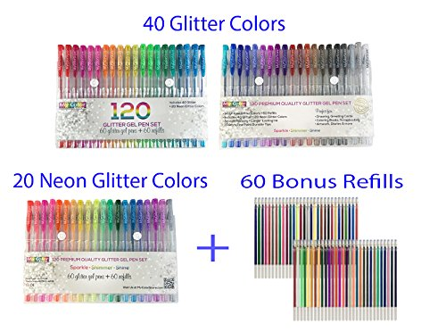 My Color Store 120 Glitter Gel Pens Set, 60 Glitter Pens + 60 Refills, Fold-able Case + Gift Box by My Color Store (Image #3)