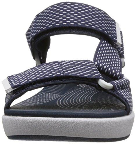 Clarks Damen Sandale Navy, Shite Textile