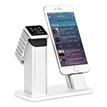 Apple Watch Stand, Ziku Premium Aluminum Charging Stand Dock Station Cradle Holder for Apple Watch iPhone - Supports Apple Watch Night Stand Mode and iPhone 7/plus 6/plus 6S/plus SE with Different Thickness Case (Silver)