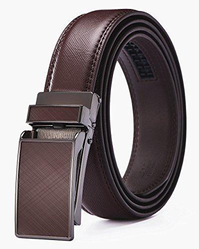 Xholding Men's Automatic Buckle Ratchet Leather Dress Belt 30mm Wide 1 1/8'
