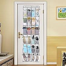Over The Door Shoe Organizer, Eseastar 24 Pockets Large Hanging Shoe Bag Shoe Shelves Mesh Pockets,Heavy Duty Door Shoe Rack with 3 Steel Door Hooks (White)