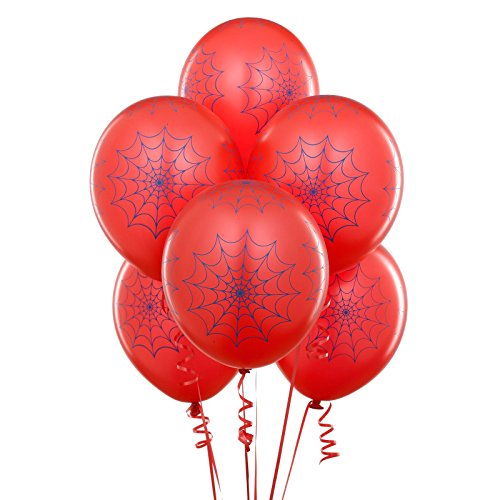 Red with Blue Spider Webs Matte Balloons (6) -