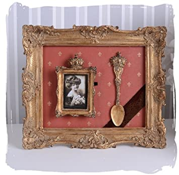 Jugendstil Bilderrahmen Fotorahmen Rechteckig Silber 10x15 Stil Nostalgie Antik