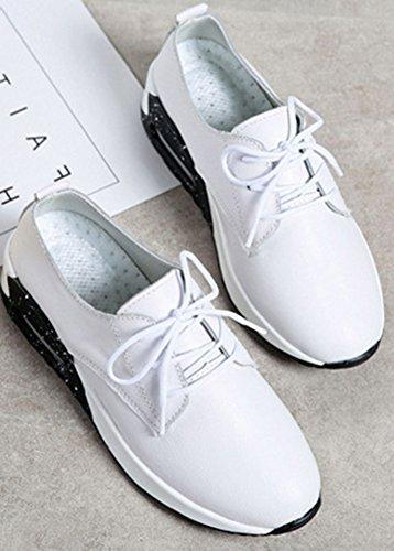 Femme Talon Baskets Blanc Respirant Sport Aisun Mode Moyen 6gqAz