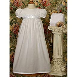White Polycotton Christening Baptism Gown with Lace Trim & Bonnet, 06