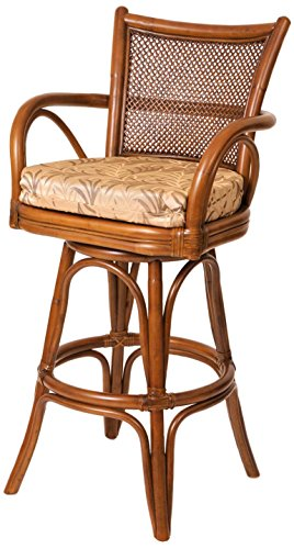 Alexander Sheridan SNG10124-SI-MN Singapore Swivel Barstool in Sienna Finish, 24