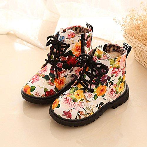 Tefamore Mädchen Blumen Martin Aufladungen Beiläufige Art und Weisefall Winter Baby Schuhe Weiß