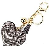 Elesa Miracle Girl Women Love Heart Tassel Keychain, Purse Bag Charm, Handbag Accessories, Car Key Chain (Gray)