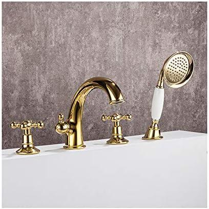 黄金の浴槽の蛇口真鍮の浴室の浴槽の蛇口2ハンドル4穴シャワーの蛇口セットデッキマウントバスタブタップハンドヘルドシャワー付き