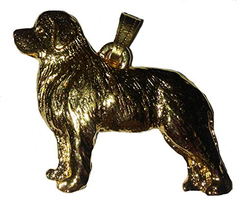 : Newfoundland Dog 24k Gold Plated Pewter Pendant