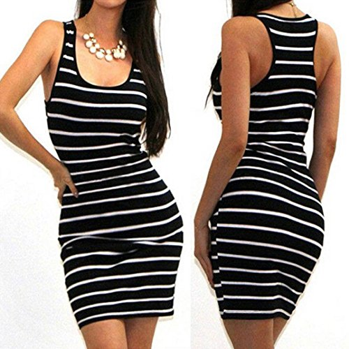 HOT SALE !Striped Mini Dress,BeautyVan Charming Comfortable Sexy Women Bandage Bodycon Sleeveless Striped Evening Party Short Mini Dress (L, - Black Naked Male Pics