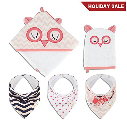 Boritar Hooded Baby Bath Towel for Girls and Wash Mitt Set with 3 Piece Bibs, Best Baby Shower Gift, Super Soft Lovely Owl Printed 30