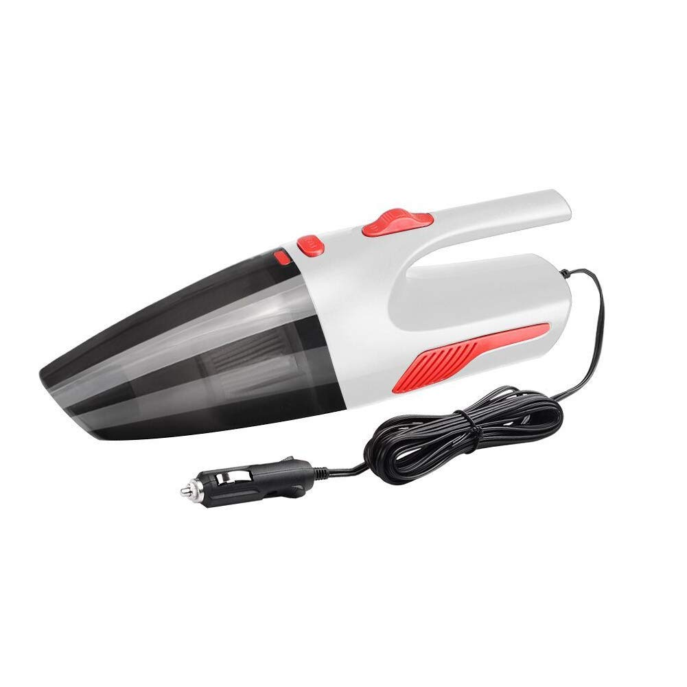 Aishankra JY005 Car Portable Handheld Vacuum Cleaner 4.5M Power Cord, Wet and Dry, High Suction, LED Lighting, Low Noise(White)