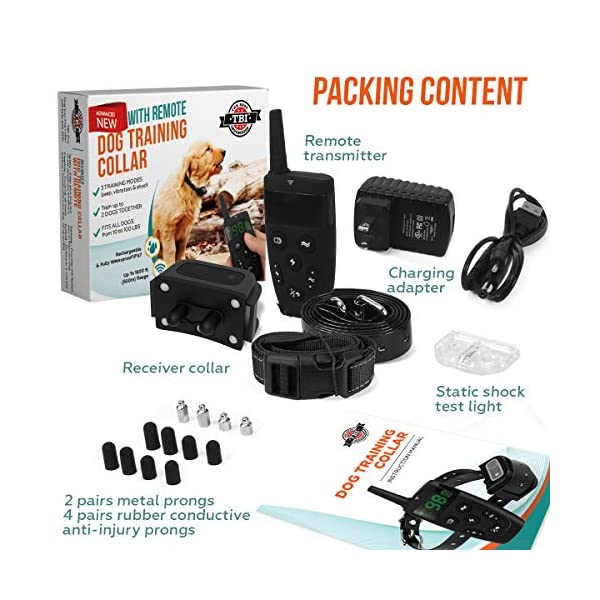 [Upgraded 2020] Dog Training Collar with Remote - Shock Collar for Dogs Range 1600 feet, Vibration Control, Rechargeable Bark E-Collar - IPX7 Waterproof for Small, Medium, Large Dogs, All Breeds 8