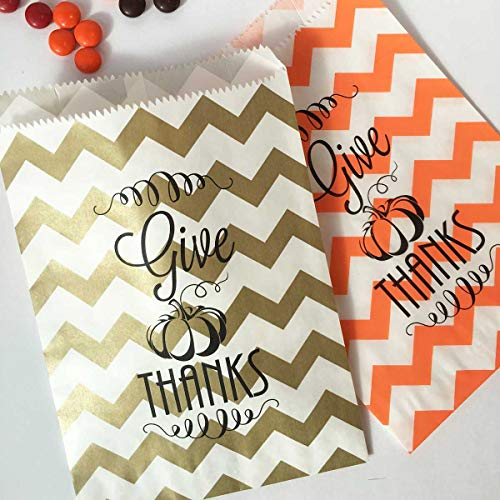 Thanksgiving Favor Bags Stickers, Give Thanks Gold Orange White Chevron Treat Bags -