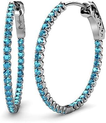 925 Silver Round Cubic Zirconia CZ Inside-out Hoops Hoop Earrings Cttw 1.9