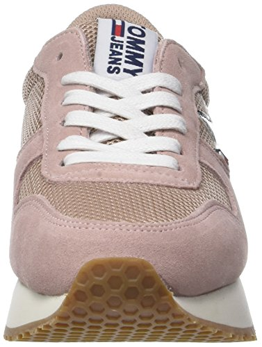 Tommy Jeans Women's Star Low-Top Sneakers, Silver Grey Pink (Mahogany Rose 634)