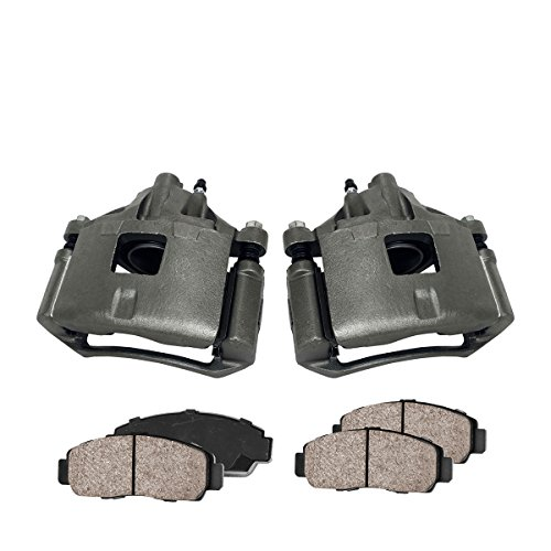 COEK00642 [2] FRONT Premium Loaded OE Caliper Assembly Set + Quiet Low Dust Ceramic Brake Pads ()