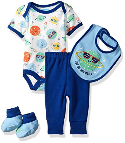 BON BEBE Baby Boys' 4 Pc Pant Set with Bib Lapshoulder Bodysuit and Booties, Out of This World Blue, 6-9 Months
