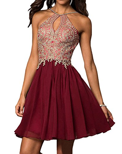 Chiffon Beaded Long Halter Gown - 8