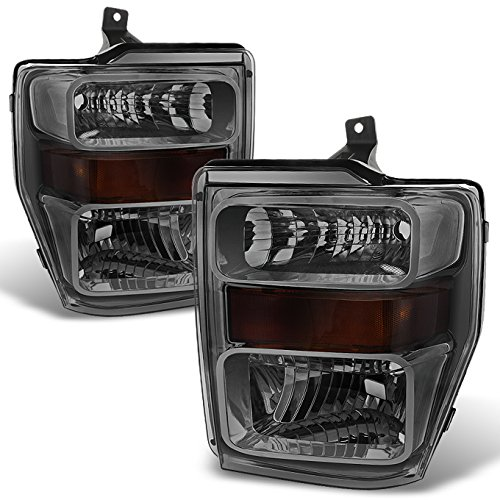Smoke 08-10 Ford F250/350/450/550 Superduty Pickup Truck Headlights Lamps Direct Replacement Pair