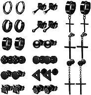 ONESING 15 Pairs Earrings for Men Black Stud Earrings Mens Earrings Stainless Steel Stud Earrings Set for Men