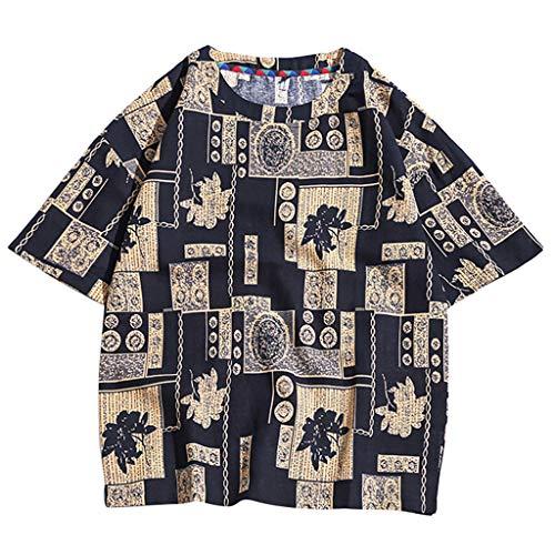 YKARITIANNA New Mens Linen Short Sleeve Solid Color Crew Neck Loose Casual T Shirt Blouse 2019 Summer New Arrivals ()
