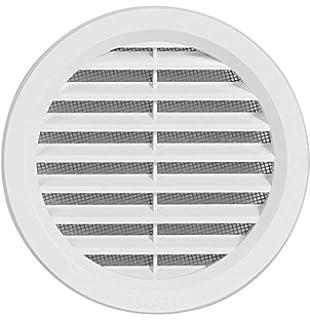 Rejilla de ventilación de plástico, rejilla de extracción de aire redonda con brida/conexión de tubo y protección antiinsectos, 144 mm (VM125): Amazon.es: Bricolaje y herramientas