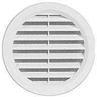 Kunststoff Lüftungsgitter - Abluftgitter - rund - mit Flansch/Rohranschluß und Insektenschutz - Deckmaß: 123 mm (VM100) (1)