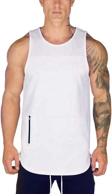 Beautyfine Vest Mens Sport Stripe Elastic Tank Tops Summer Casual Slim Fit Short Large Size