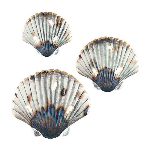 Set of 3 Metal Seashell Hanging Wall Art Beach Coastal Ocean