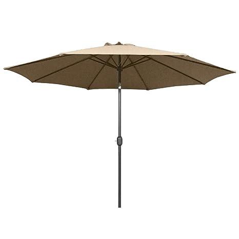 UV Schutz 50+ Sonnenschirm Marktschirm Kurbelschirm Schirm 300cm rund taupe