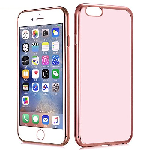 Lnkey Shop Cover iPhone 7, iPhone 7 4.7 Inch Custodia Bumper Case Cover Chiaro Cristallo Ultra-Sottile Slim fit Trasparente Placcatura TPU Silicone Antigraffio Custodia per iPhone 7 4.7-Rosa