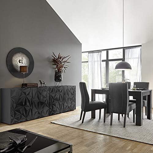 Novedoso salón de diseño aparador de 4 puertas + mesa 180 gris ...
