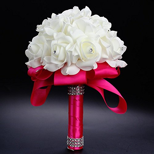 FIDDY898 Romantic Wedding Bride Holding Bouquet Roses with Crystal Diamond Ribbon Artificial Foam Flower Bouquet hot Pink