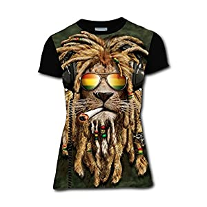 Women's Girl's Casual Graphics Rasta Lion With Sun Glasses Jamaica 3D Printed T-Shirts Short Sleeve Tops Tees XL