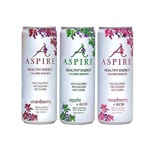 ASPIRE Healthy Energy, Calorie Burning, Zero Calorie, Essential Vitamins, Zero Sugar Drink + Acai Caffeine   12-Pack Variety Bundle   4-Each Cranberry, Raspberry, And Apple   No Bull